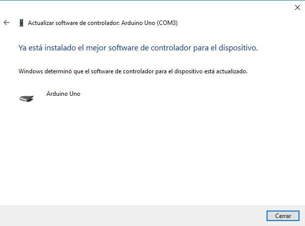 Configuración del driver de Arduino en Windows