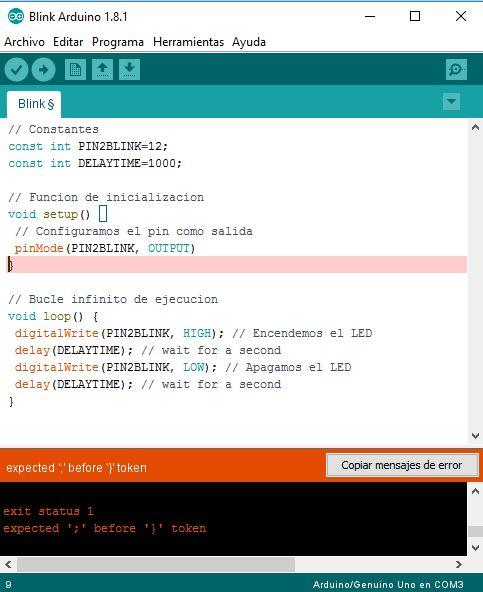 Error de compilación Arduino